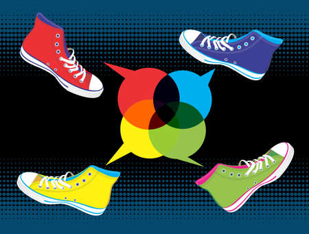 american media: Colourful sneakers with dialogue balloon on black background. Vector available