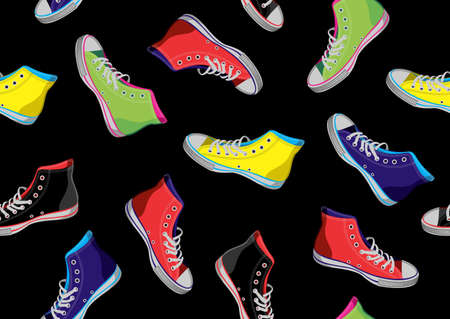 Colourful sneakers on black background. Vector available  Stock Vector - 10614143
