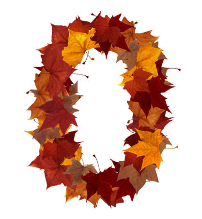 autumn path: Number zero made with autumn leaves isolated on white with clipping path. So you can easily cut it out and place over the top of a design. Find others symbols in our portfolio to compose your own words.