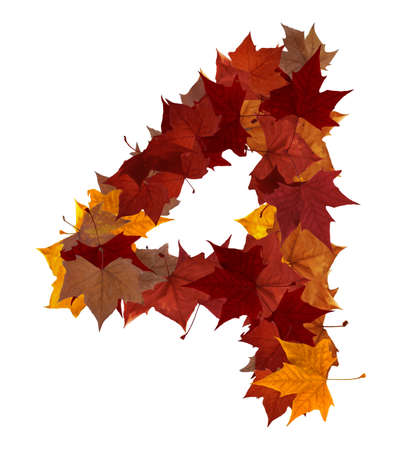 Number 4: Number 4 made with autumn leaves isolated on white with clipping path. So you can easily cut it out and place over the top of a design. Find others symbols in our portfolio to compose your own words. Stock Photo