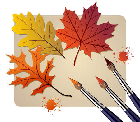 Three brushes painting the autumn leaves. Vector available Vector