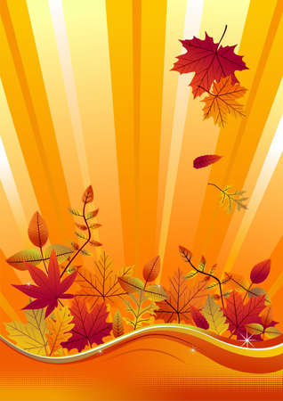 Fall leaves on a vertical yellow background. Vector available Vector