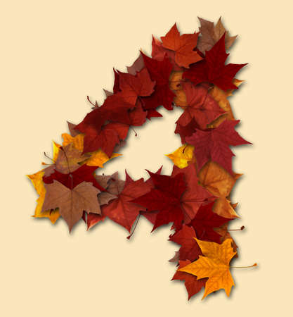 four month: Number 4 drop shadow made with autumn leaves Isolated with clipping path, so you can easily cut it out and place over the top of a design. Find others types in our portfolio to compose your own words.