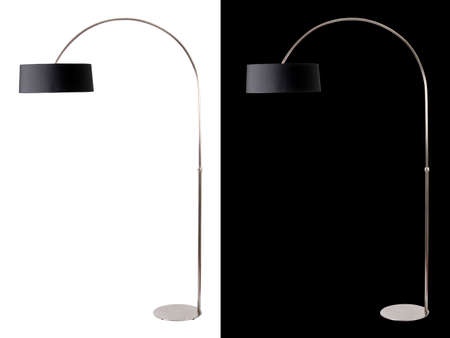 Contemporary metallic and black floor lamp on white and black backgrounds. Clipping path included for both, so you can easily cut it out and place over the top of a design. photo