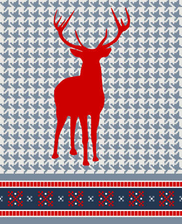 Christmas reindeer silhouette on vintage seamless pattern background. Vector illustration. Vector