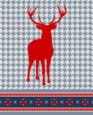 Christmas reindeer silhouette on vintage seamless pattern background. Vector illustration. Vector