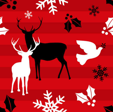 Christmas elements and reindeers over red striped pattern background .Vector illustration Vector