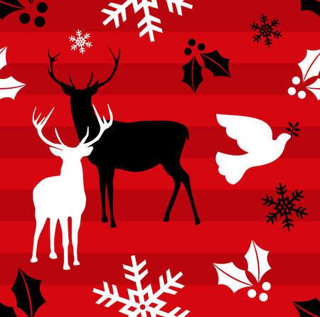 elk horn: Elementos de Navidad y reindeers sobre fondo rojo de rayas.Ilustraci�n vectorial