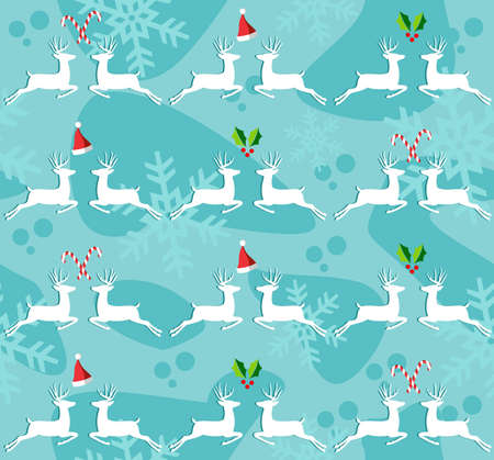Christmas decorative elements and reindeers seamless pattern background. Vector illustration. Vector