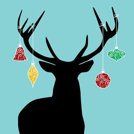 Christmas reindeer silhouette with decorations hanged from its antlers. Vector