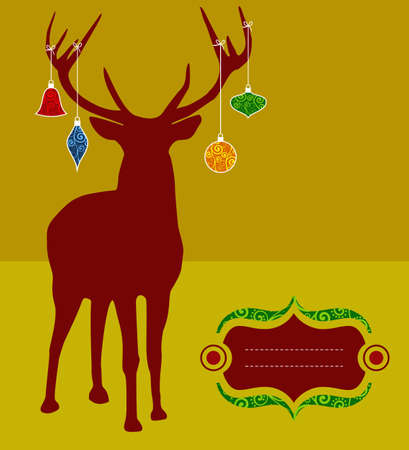 Christmas reindeer silhouette with decorations hanged from its antlers over mustard background. Ready for use as postage greeting card. Vector