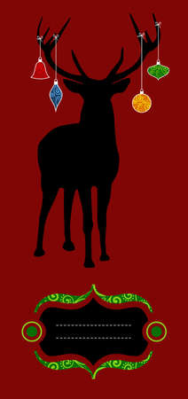 Christmas reindeer silhouette with decorations hanged from its antlers over red background. Ready for use as xmas card. Vector