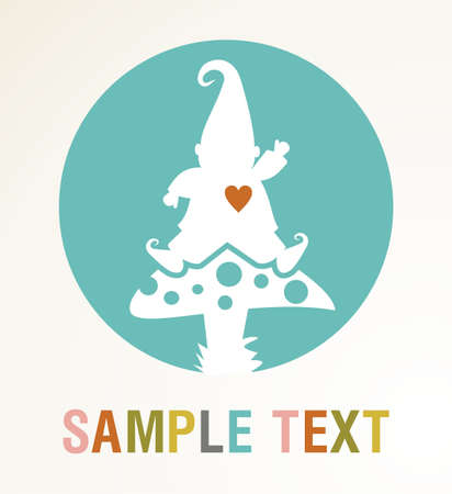 White elf silhouette on a mushroom with colored text card . Vector file available. Stock Vector - 10711201