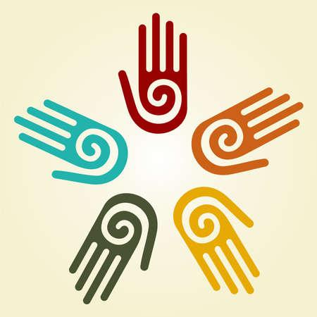 Hand met een spiraal-symbool op de palm, op een cirkel van handen achtergrond. Vector beschikbaar.