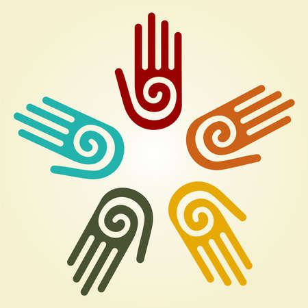 Hand with a spiral symbol on the palm, on a circle of hands background. Vector available.