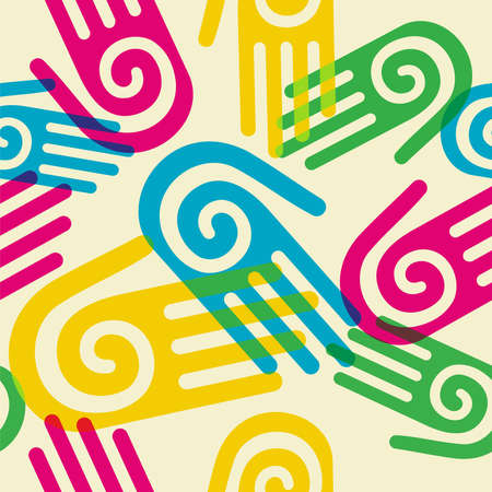 solidarity: Pattern hands with a spiral symbol on the palm. Vector available Illustration