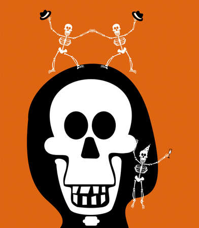 Halloween skull and skeletons, dancing and celebrating the evening. Orange background. Vector available Vector