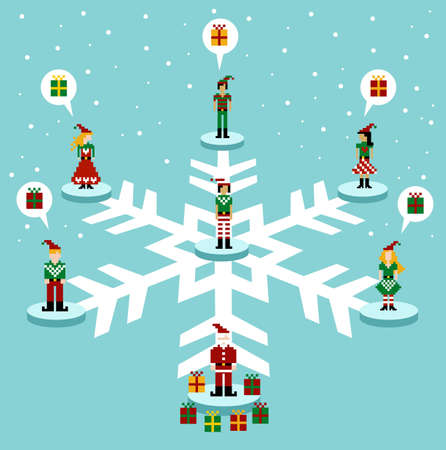 available time: Social media network connection concept at Christmas time. Vector available