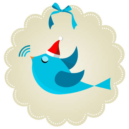 Twitter bird communication at Christmas time. Social media network connection concept Vector