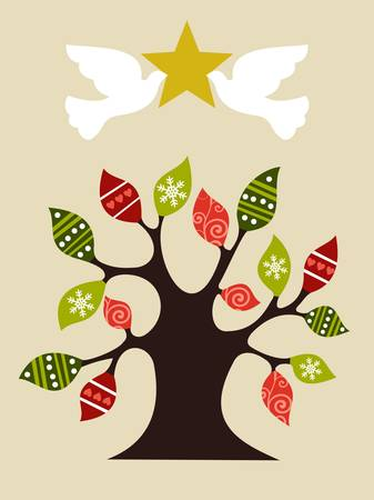 pace: Christmas tree with pace doves holding and shiny golden star on top. Vector file available.