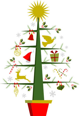 bubbling: Fully decorated Christmas tree with a shiny golden star on top. White background vector file Illustration