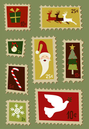 Christmas symbols and design elements postage stamps  Vector