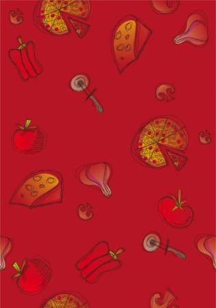 Pattern of pizza and ingredients on red background. Vector available Vector