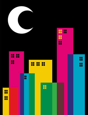 Multicolored transparency buildings and moon on top illustration. Vector file available. Stock Vector - 10711210