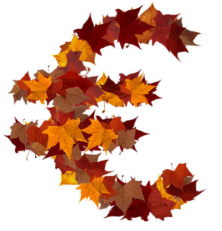 Euro symbol made with autumn leaves isolated on white. Find others symbols in our portfolio to compose your own words. photo