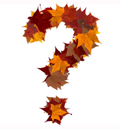 Question mark symbol made with autumn leaves isolated on white background. Find others symbols in our portfolio to compose your own words. photo