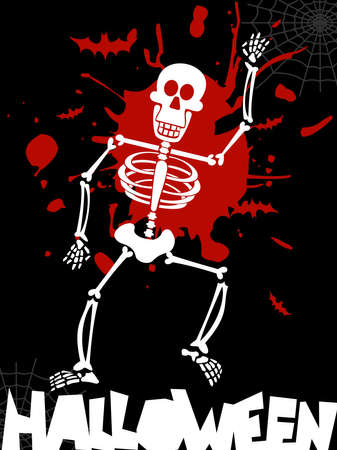 Scary dancing skeleton Halloween background. Vector available Vector
