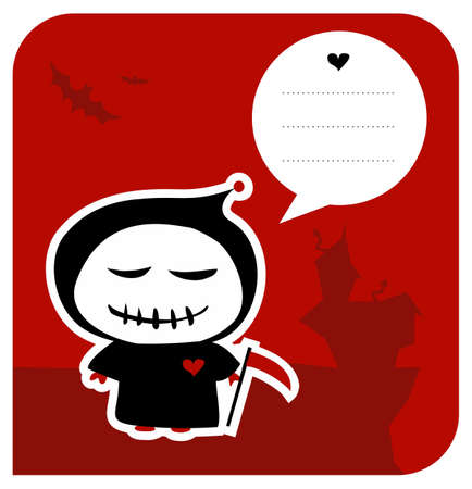 Funny grim reaper invitation with reaping hook and speech bubble usable as greeting card. Vector available Vector