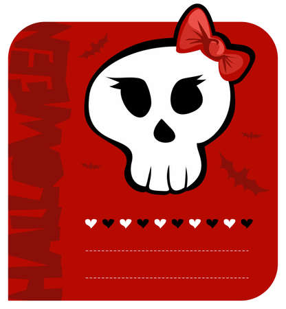 Red background funny skull girl halloween greeting card. Vector available Vector
