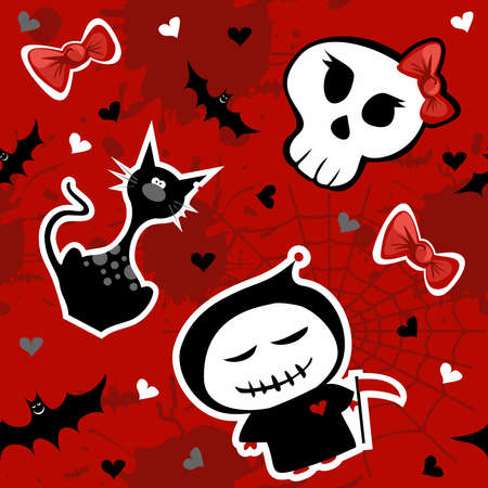 Funny halloween characters seamless pattern background. Vector available Vector
