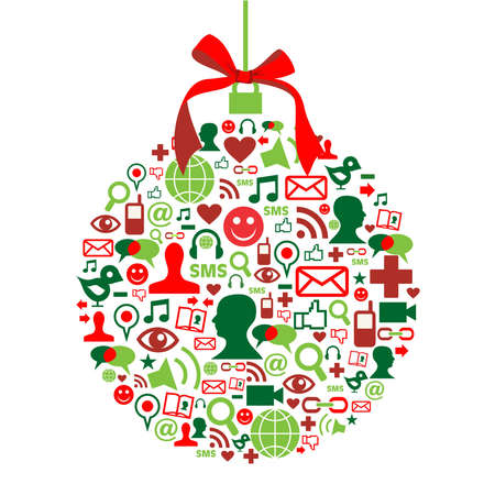 social gathering: Christmas bauble shape made with social media icons set. Illustration
