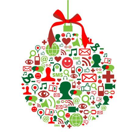 paz mundial: Forma Navidad chuchería hecho con iconos de los medios de comunicación social establecido. Vectores