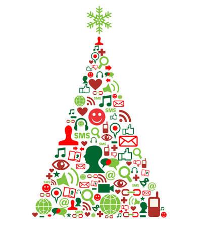 solidaridad: Forma de árbol de Navidad hecho con conjunto de iconos de medios de comunicación social,
