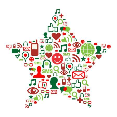 paz mundial: Forma de estrella de Navidad hecho con los iconos de los medios de comunicación social. Vectores