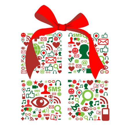 caja navidad: Medios de comunicaci�n social forma de la caja de navidad hecho con los iconos de la comunicaci�n global.