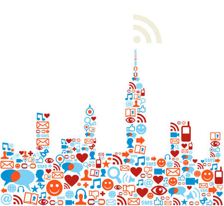 sociology: Social media icons set in cityscape shape.