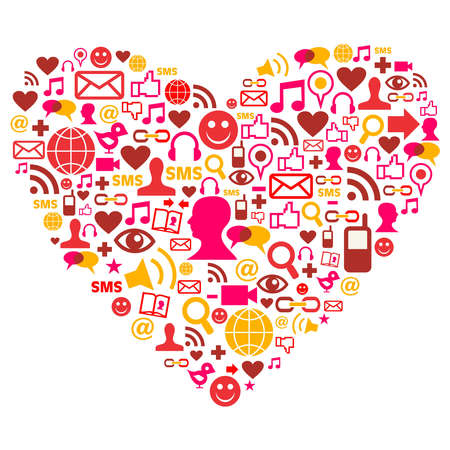 Social media heart shape made with isolated icons Stock Vector - 10801137