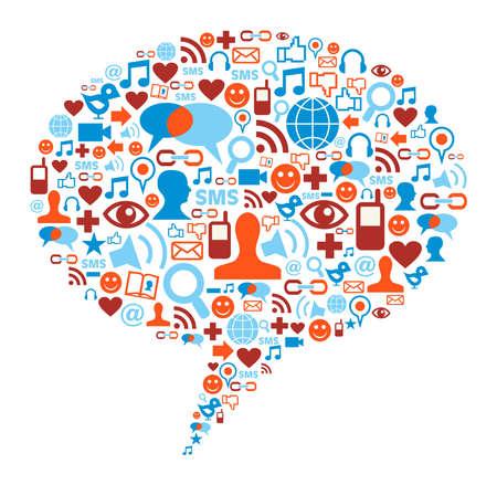 interacci�n: Medios de comunicaci�n social forma de burbuja hecho con iconos de la comunicaci�n global