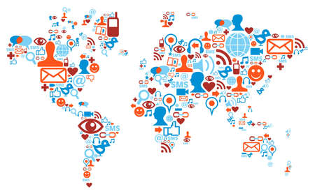 global communication: Social media network icons in world map shape concept Illustration