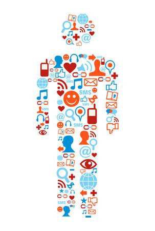 Social media icons set in man shape concept Stock Vector - 10801133