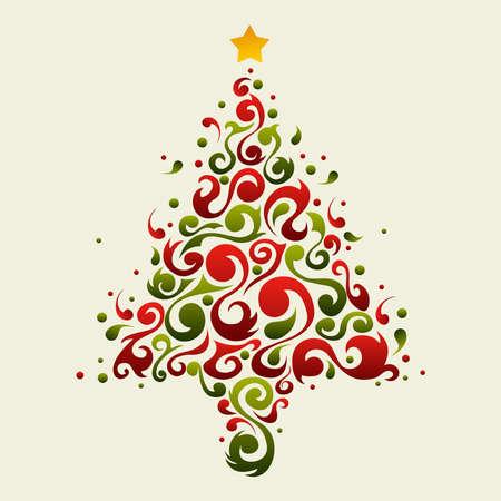navidad elegante: �rbol de Navidad hecho con formas ornamentales florales verdes y rojas