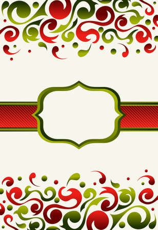 ornated: Xmas invitation made with green and red ornated background