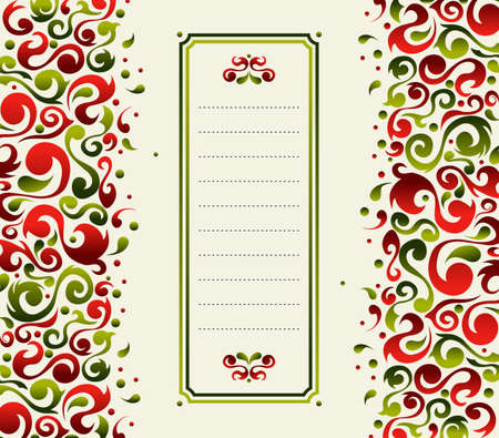 present presentation: Christmas postcard made with green and red ornamental plant shapes