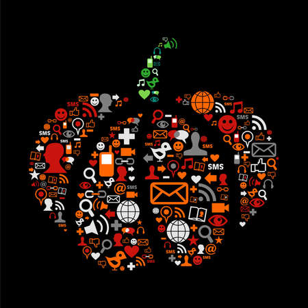 Pumpkin made ??of social media icons for Halloween. Vector file available. Stock Vector - 10801146