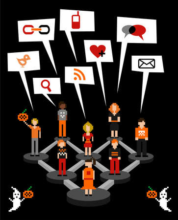 relationship management: Web social relationship diagram showing people connected in Halloween seasonal.