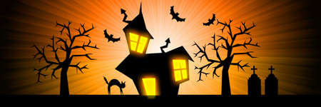 Terror night halloween orange banner background with house, cat, tombs and trees. photo